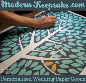 Modern Keepsake sells fingerprint wedding guestbooks, wedding invitations and personalized prints